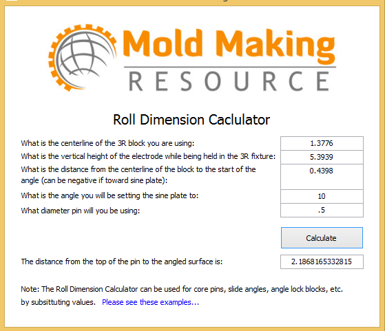 Roll Dimension Calculator Examples For Injection Mold Making
